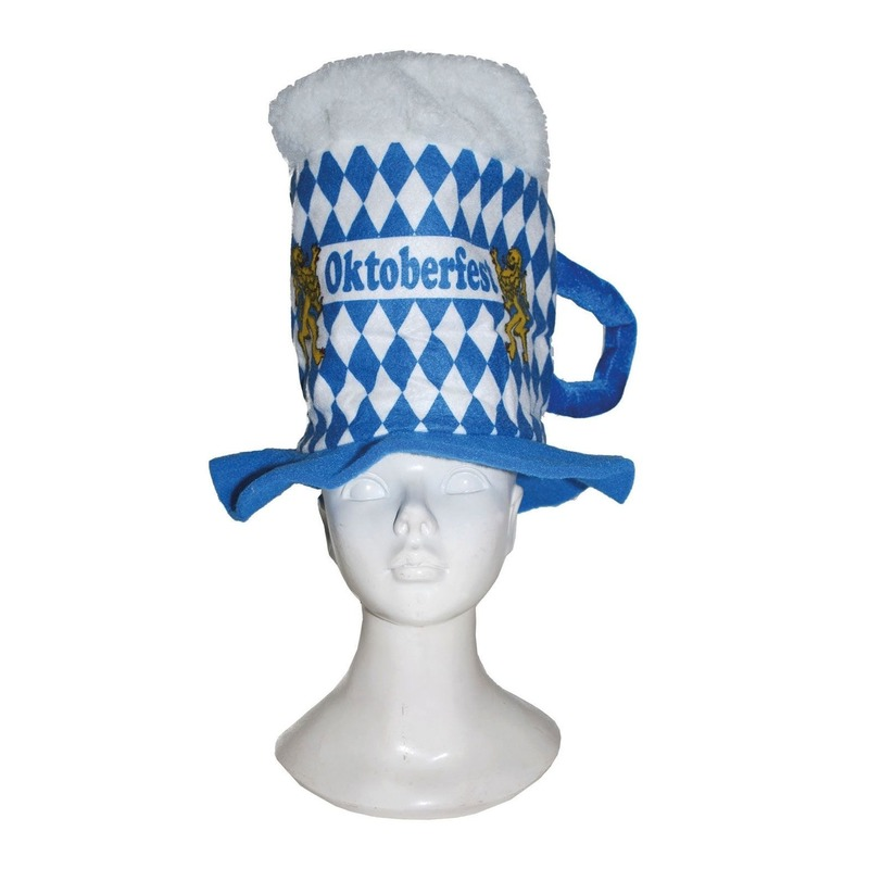 Blauwe/witte ruitjes bierfeest/oktoberfest hoed bierglas verkleed accessoire voor dames/heren