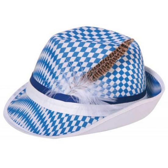 Blauwe/witte ruitjes bierfeest/oktoberfest hoed verkleed accessoire voor dames/heren