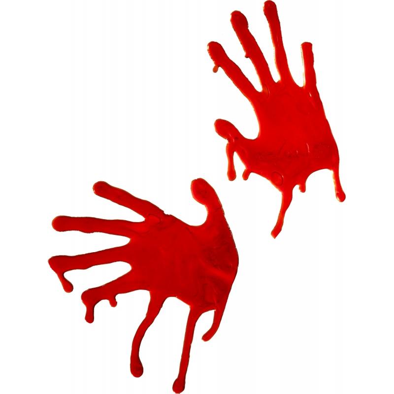 Bloed handen als raamdecoratie