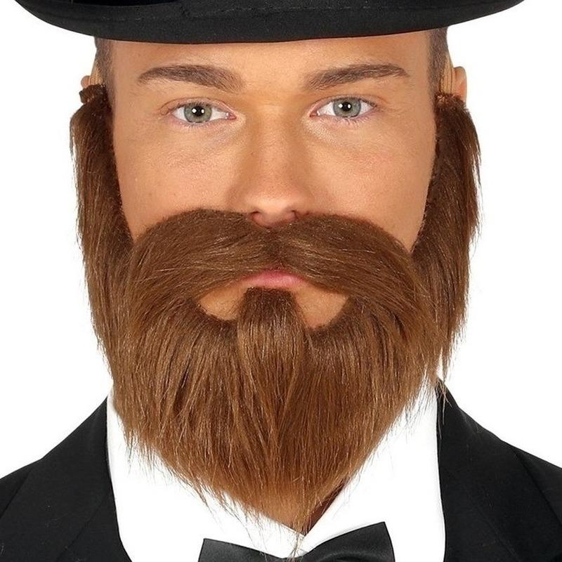 Bruine baard met sik en snor voor heren