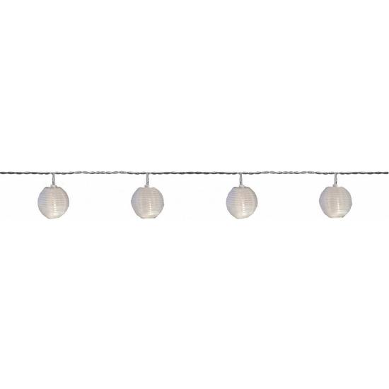 Buiten solar verlichting lichtsnoer 2,5 meter met warm witte LED lampjes en lantaarns/lampionnen