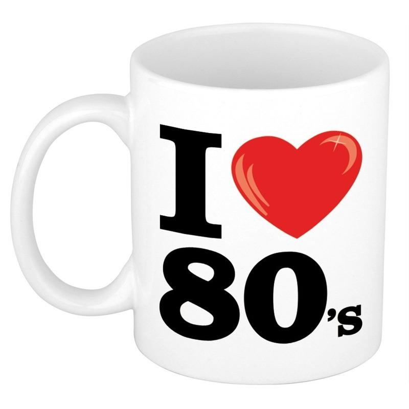 Cadeau I Love eighties koffiemok - beker 300 ml voor jaren 80 liefhebber