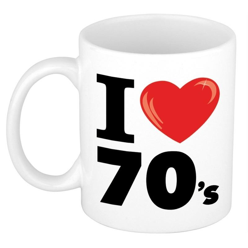 Cadeau I Love seventies koffiemok - beker 300 ml voor jaren 70 liefhebber