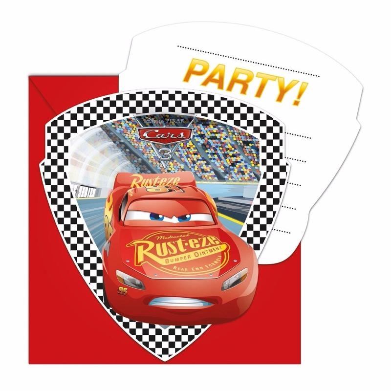Cars verjaardag uitnodigingen 6 stuks