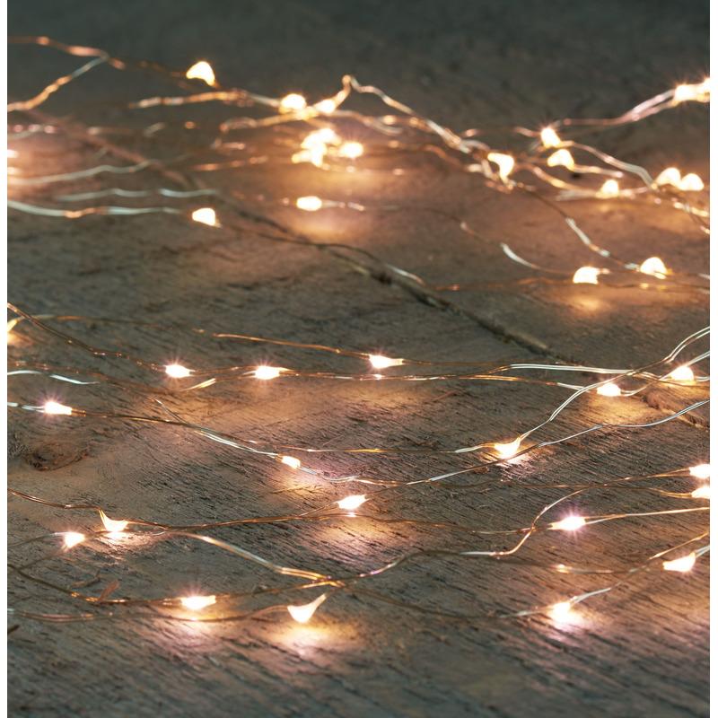 Cascade draadverlichting 64 warm witte lampjes op batterij