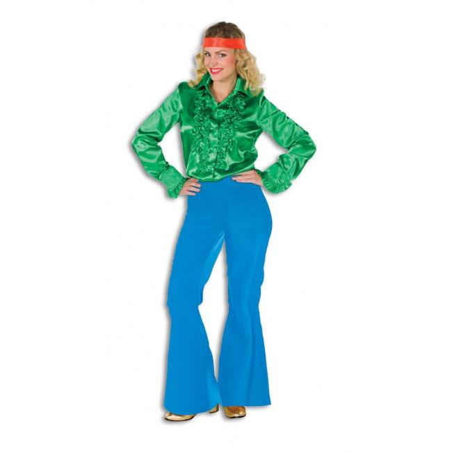 Dames broek in de kleur blauw wijd uitlopend