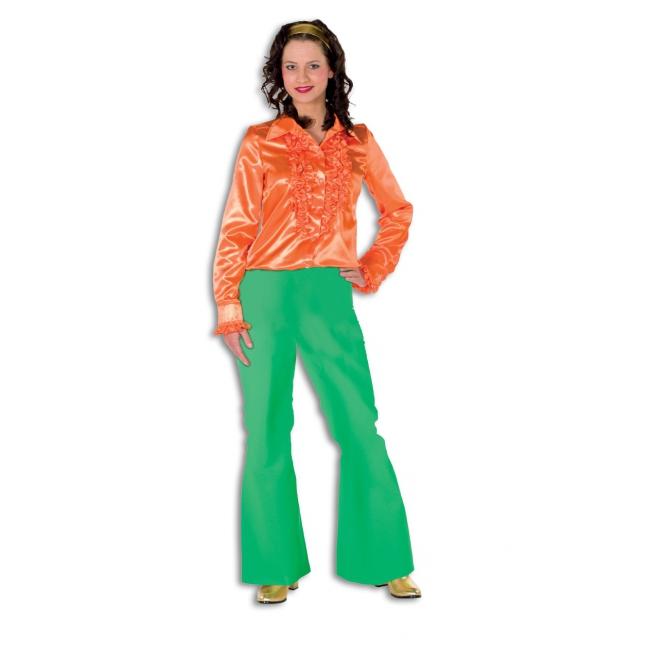 Dames broek in de kleur groen wijd uitlopend