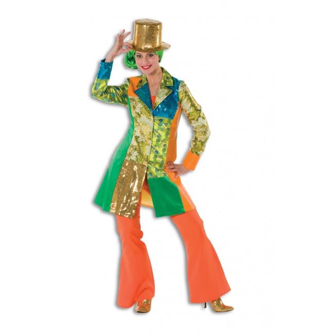 Dames broek in de kleur oranje wijd uitlopend
