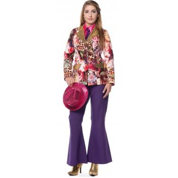 Dames broek in de kleur paars wijd uitlopend
