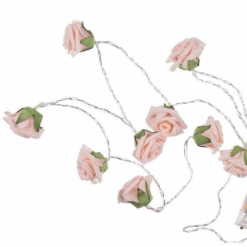 Decoratie rozen LED lichtsnoer op batterijen 140 cm