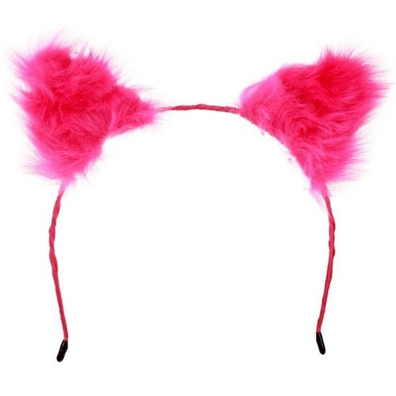 Diadeem met pluche roze oren