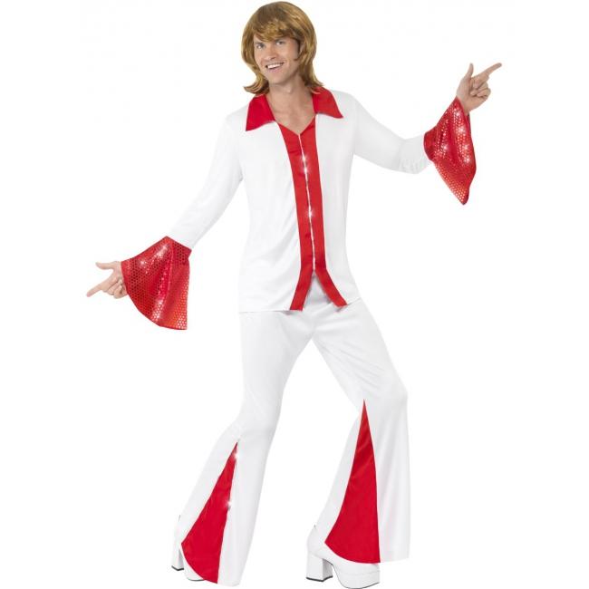 Disco kostuum rood wit voor heren