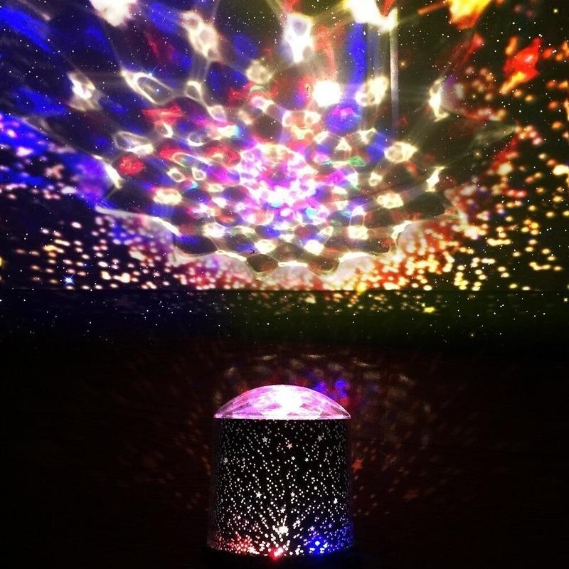 Disco projector feestlicht met LED licht in verschillende kleuren 10 x 14 cm