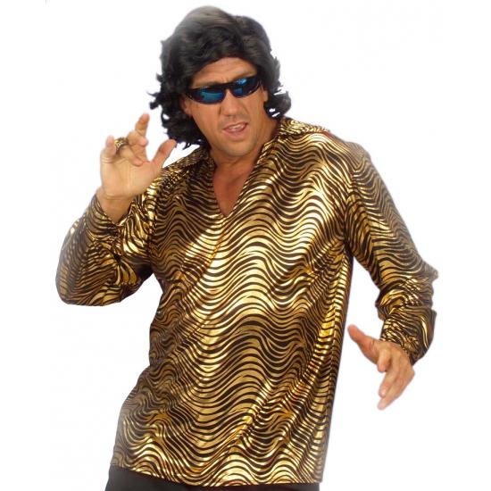 Disco verkleedkleding goud overhemd