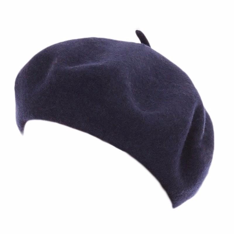 Donker blauwe dames baret