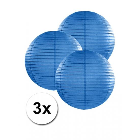 Donker blauwe lampionnen 25 cm 3 stuks