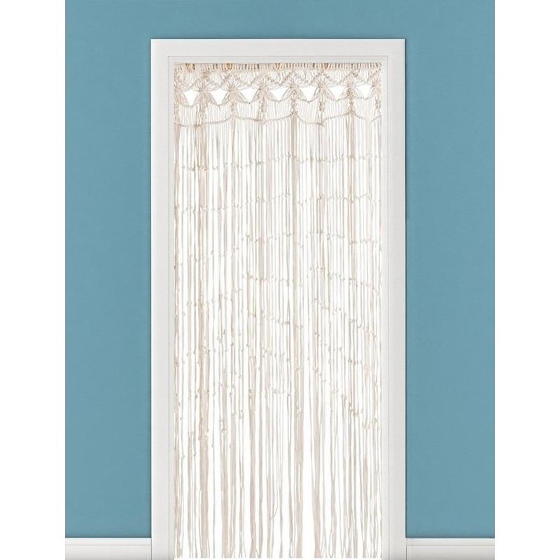 Draadgordijn-deurgordijn macrame geknoopt katoen 90 x 200 cm