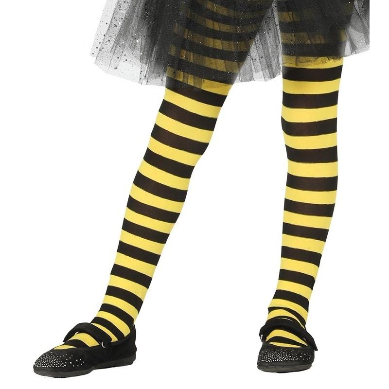 Feest/party gestreepte heksen panty maillot zwart/geel voor meisjes