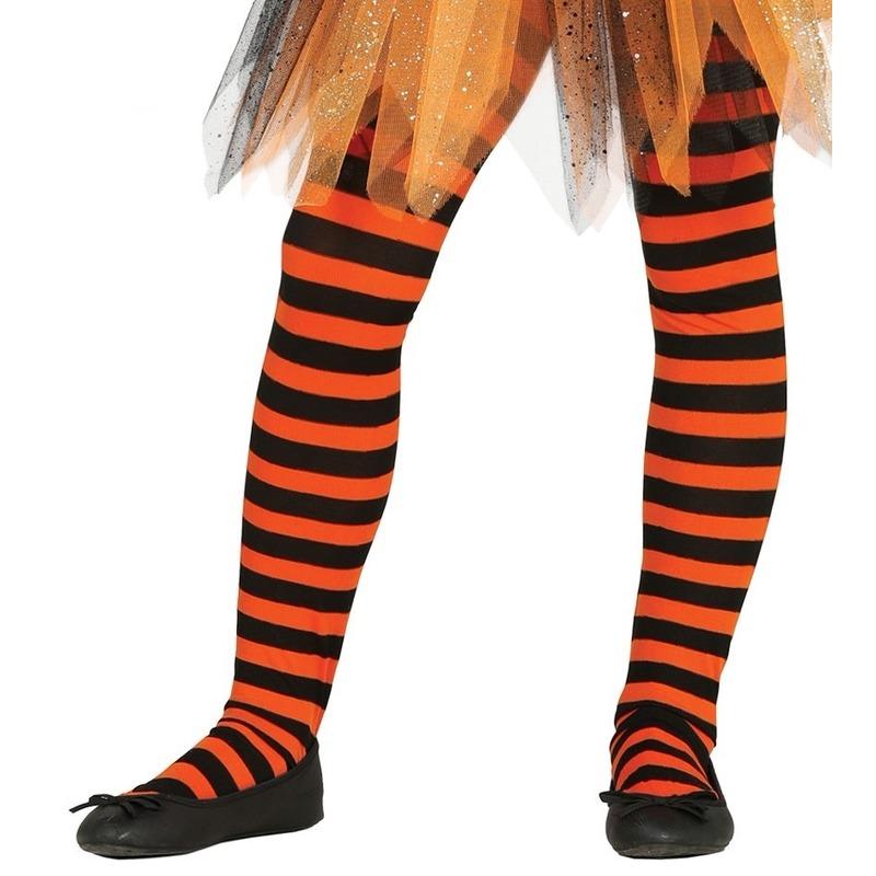 Feest/party gestreepte heksen panty maillot zwart/oranje voor meisjes