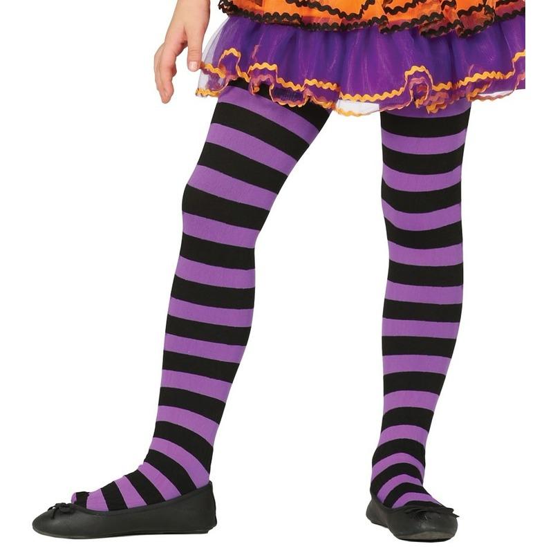 Feest/party gestreepte heksen panty maillot zwart/paars voor meisjes