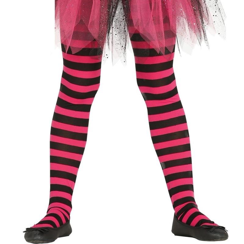 Feest/party gestreepte heksen panty maillot zwart/roze voor meisjes