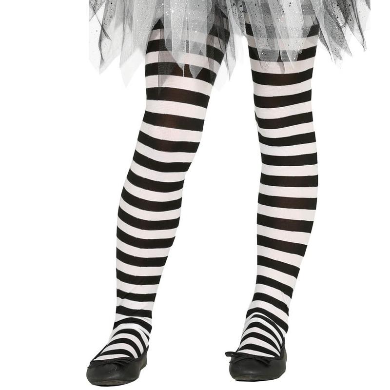 Feest/party gestreepte heksen panty maillot zwart/wit voor meisjes