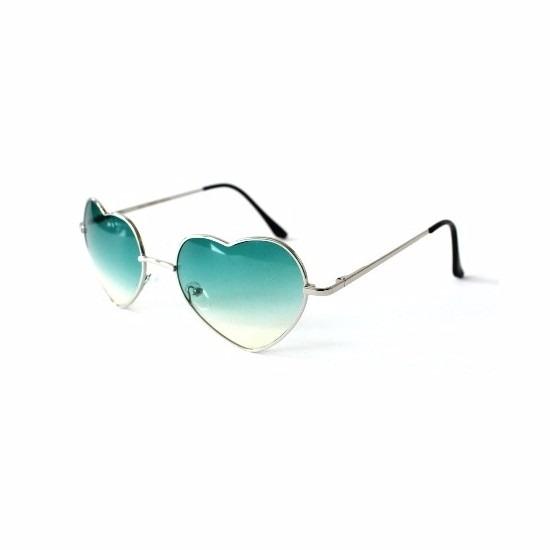 Festival zonnebril met groene hartjes glazen
