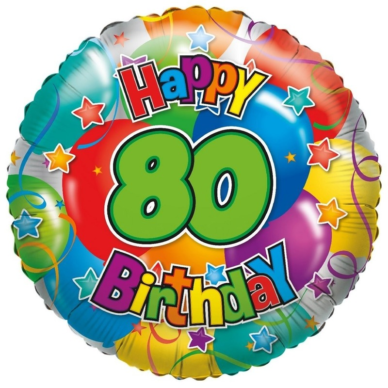 Folie ballon 80 Happy Birthday 35 cm