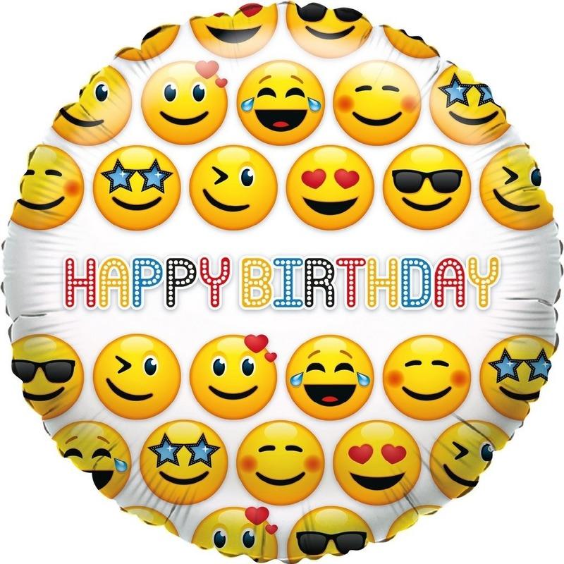 Folie ballon smiley Happy Birthday 35 cm