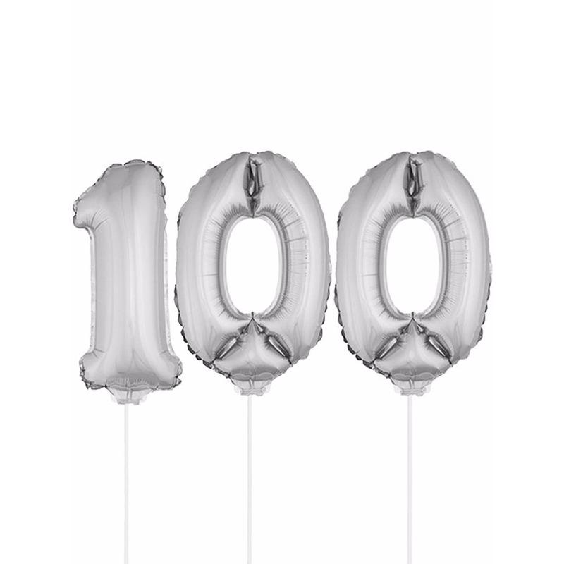 Folie ballonnen cijfer 100 zilver 41 cm