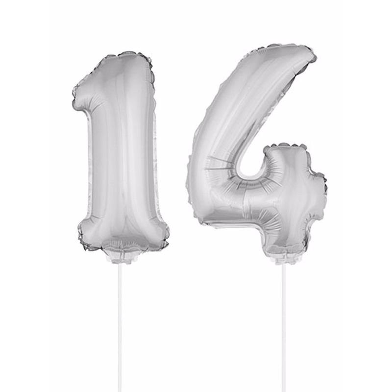 Folie ballonnen cijfer 14 zilver 41 cm