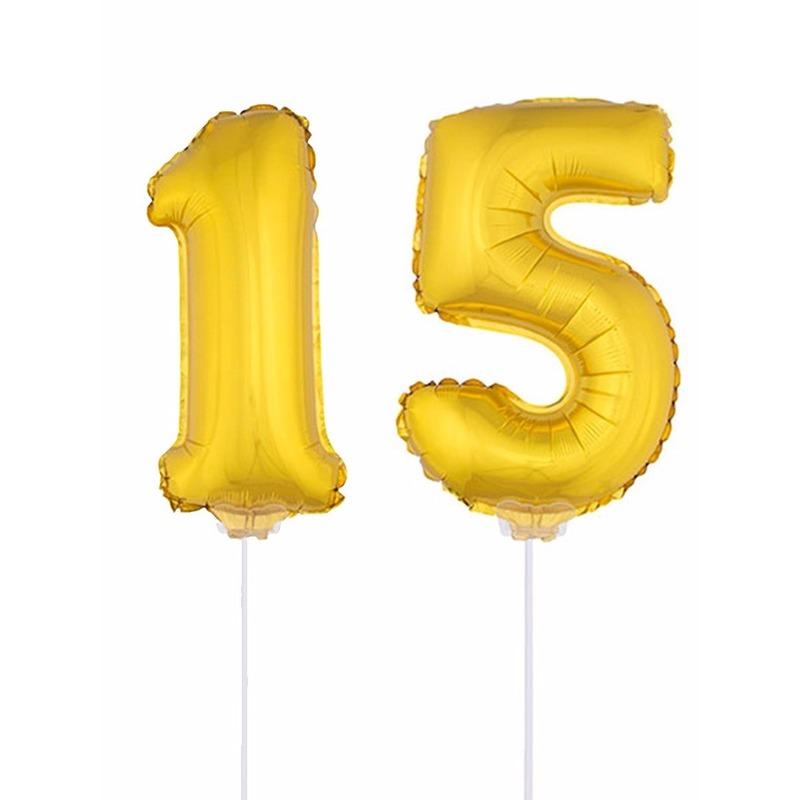 Folie ballonnen cijfer 15 goud 41 cm