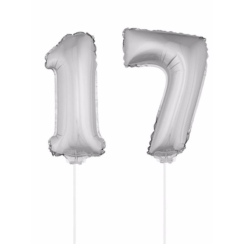 Folie ballonnen cijfer 17 zilver 41 cm