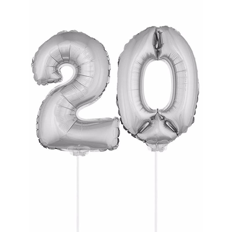 Folie ballonnen cijfer 20 zilver 41 cm