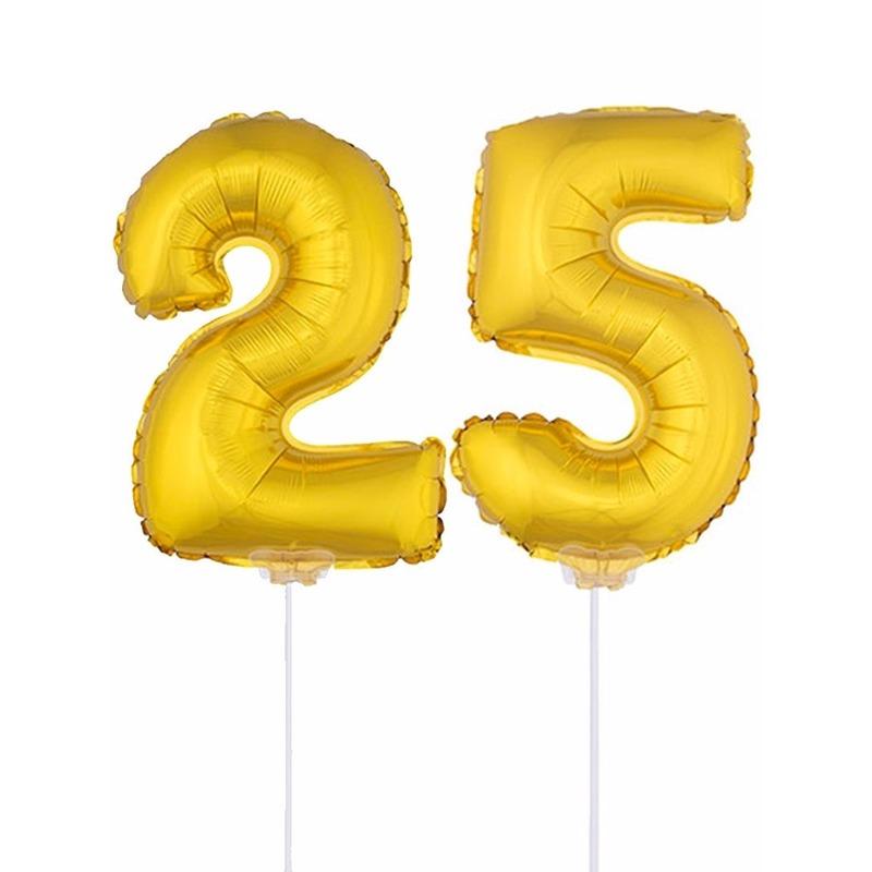 Folie ballonnen cijfer 25 goud 41 cm
