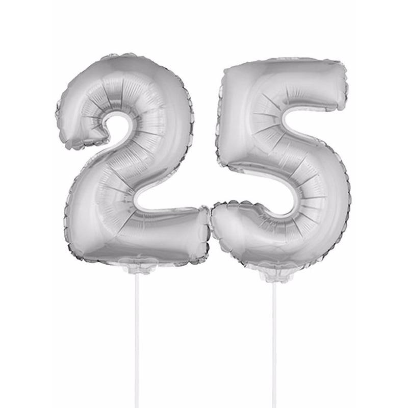 Folie ballonnen cijfer 25 zilver 41 cm