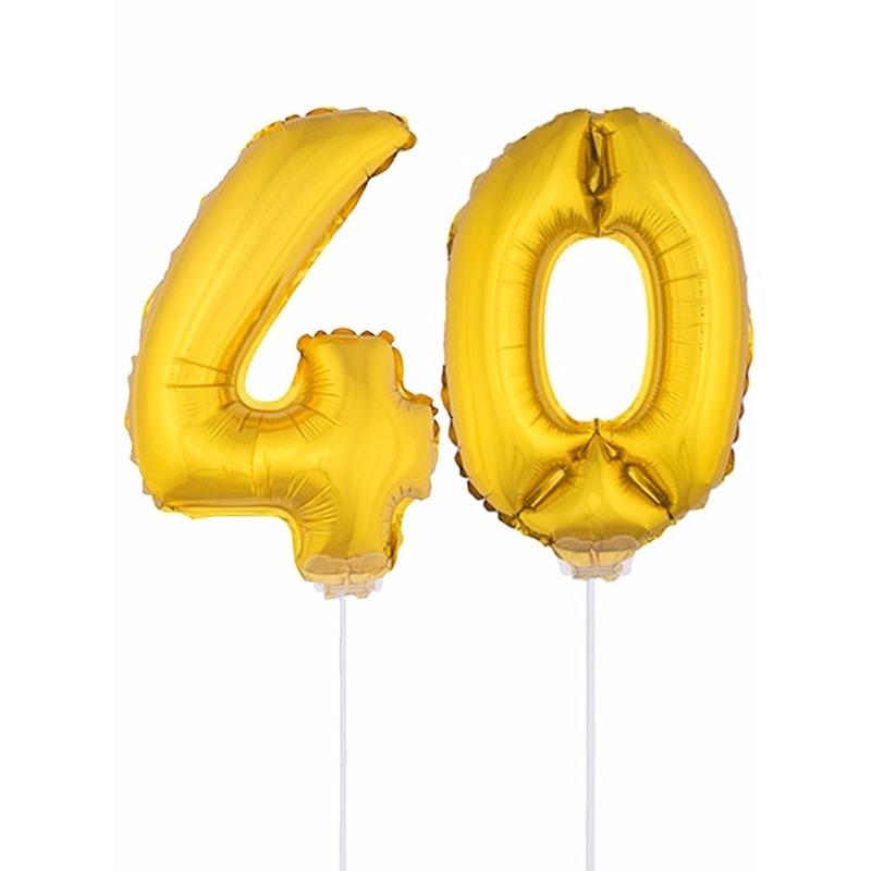 Folie ballonnen cijfer 40 goud 41 cm