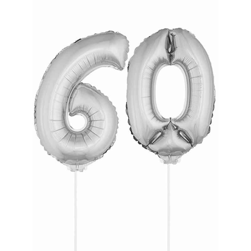 Folie ballonnen cijfer 60 zilver 41 cm