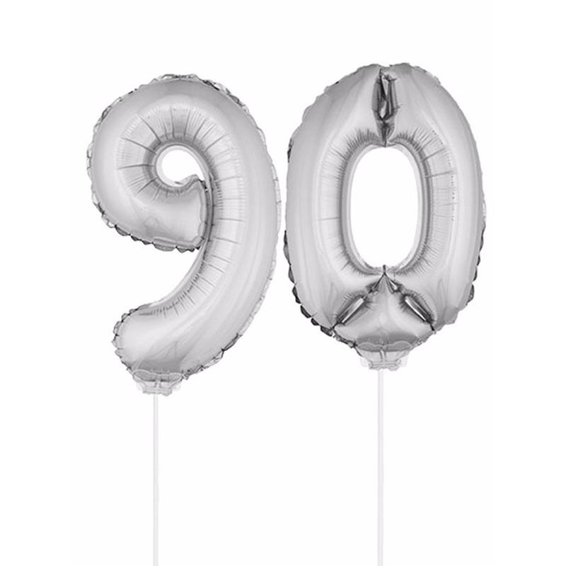 Folie ballonnen cijfer 90 zilver 41 cm