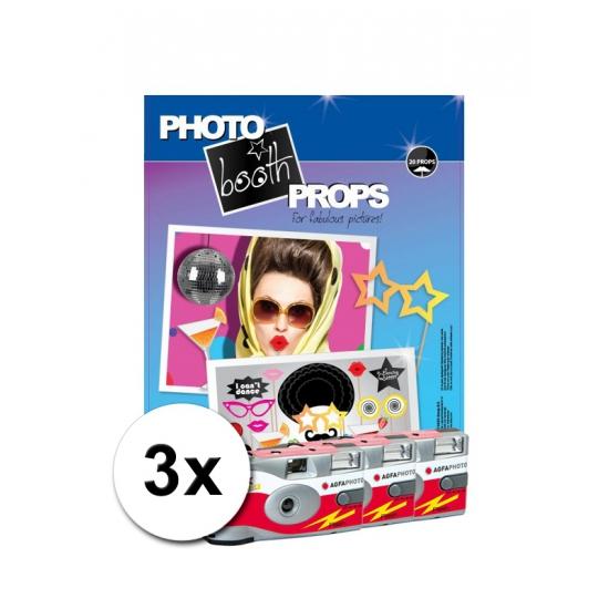 Foto booth props voor feestjes incl 3x wegwerp camera