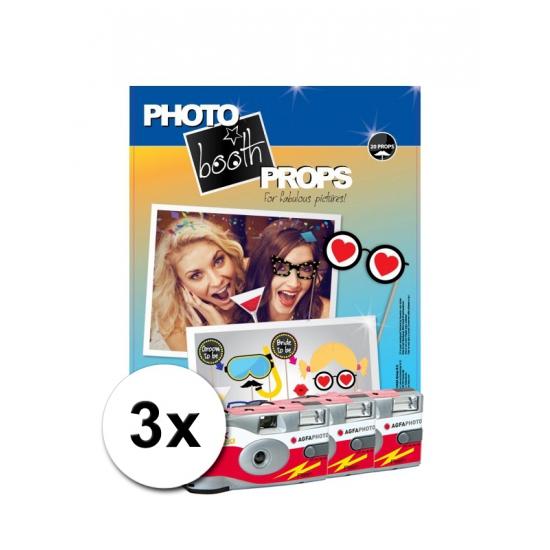Foto booth props voor vrijgezellenfeest incl 3x wegwerp camera