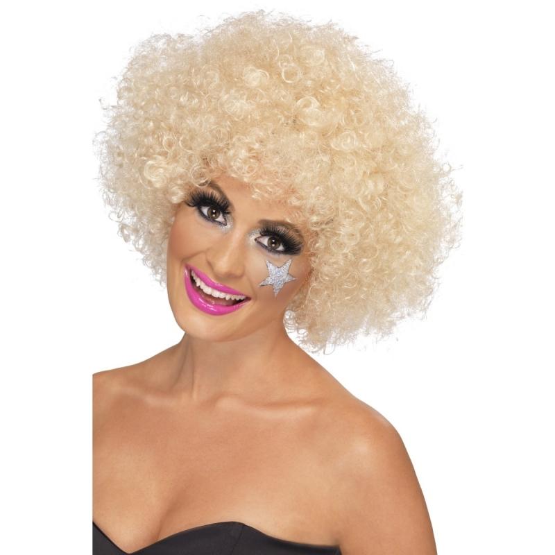 Geblondeerde afro pruik voor dames