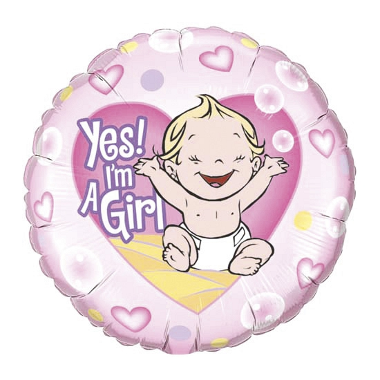 Geboorte ballon Yes I am a girl