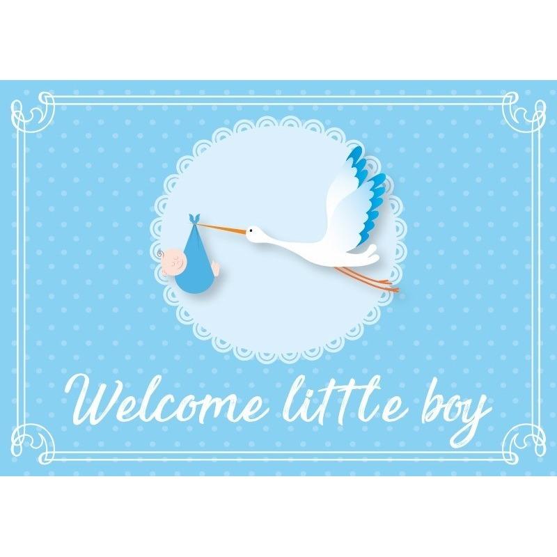 Geboortekaart-wenskaart jongen geboren blauw kraamkado