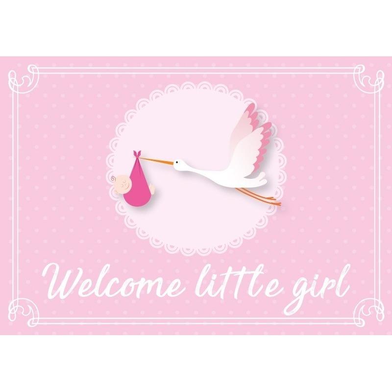 Geboortekaart-wenskaart meisje geboren roze kraamkado