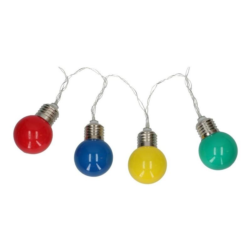 Gekleurde feestverlichting lampobolletjes lichtsnoer op batterij 165 cm