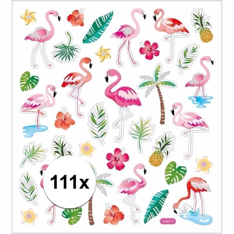 Gekleurde flamingo stickers 111 stuks
