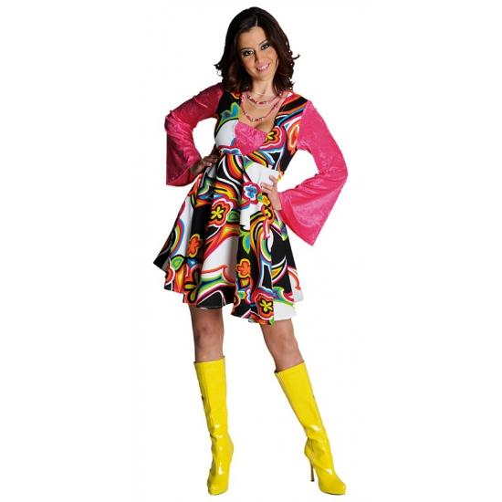 Seventies jurkje voor dames roze voor een Disco party