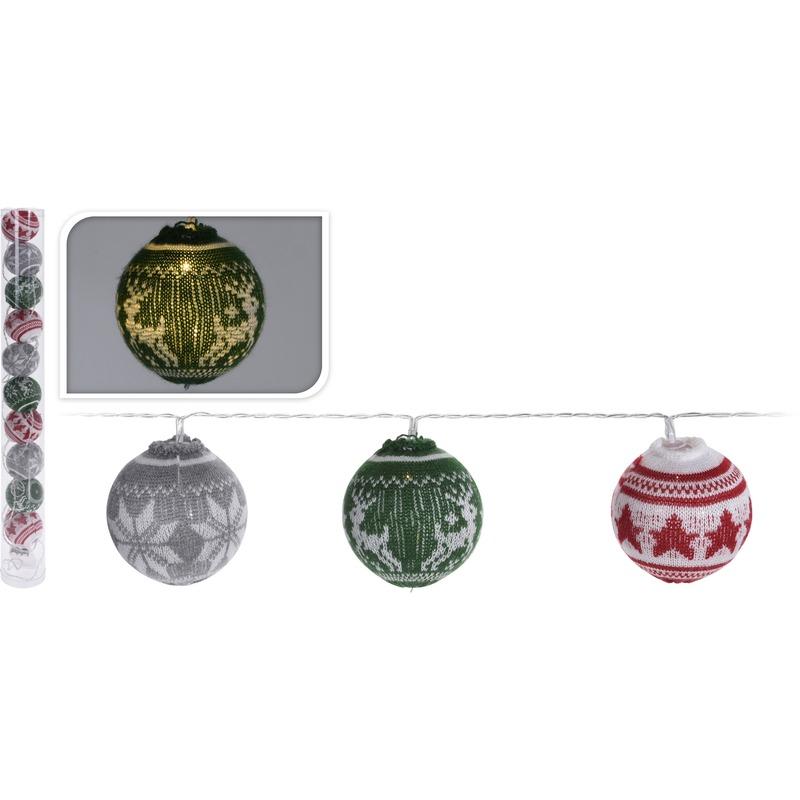Gekleurde kerstverlichting lichtsnoer met LED kerstballen 65 cm