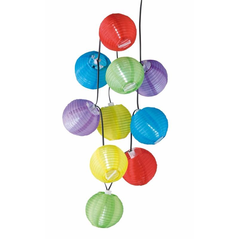 Gekleurde lampionnen lichtsnoer 240 cm